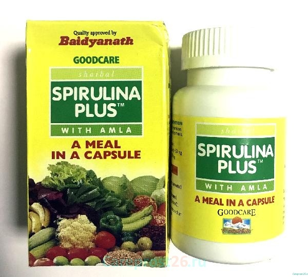 Спирулина с амлой (Spirulina plus) энерготоник и источник витаминов, 60 кап.